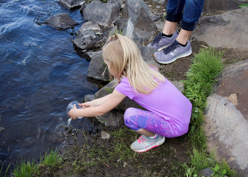 child putting small fish in creek